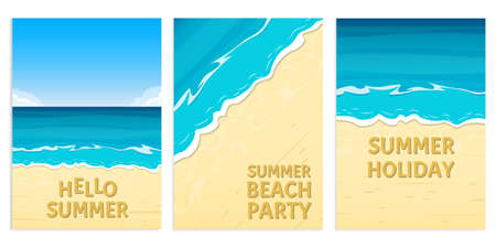 Hello summer, Beach party and Summer holiday banners with sea or ocean and sandy beach. Travel and vacation background template. Vector illustration. Ilustracja