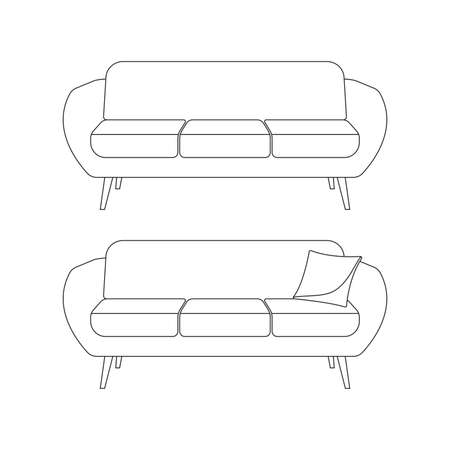 Sofa outline icon. Couch with pillow symbol. Living room furniture. Vector illustration. Ilustracja
