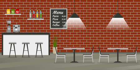 Cafe, restaurant or coffee shop interior in loft style. Bar or Pub inside with brick wall, menu board, chairs and tables. Vector illustration.