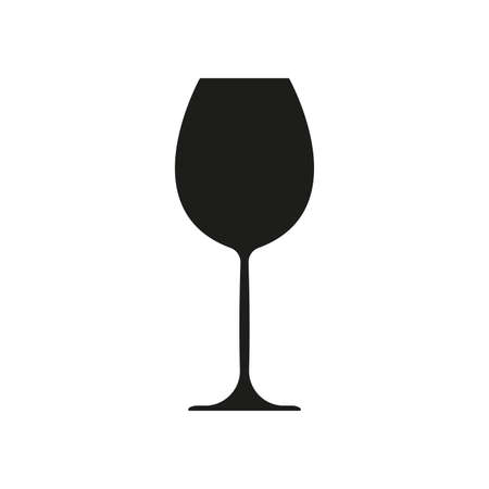 Wine glass icon. Black silhouette. Vector illustration.