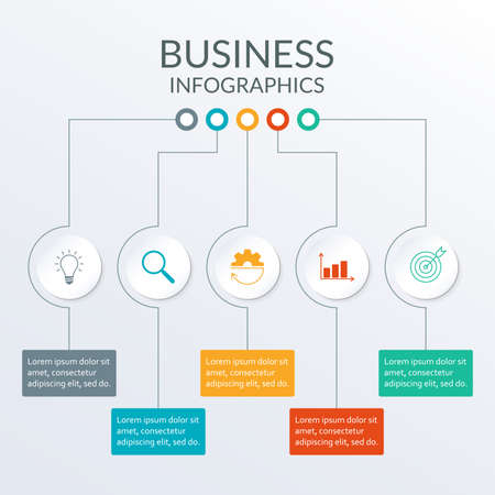 Business info graphic with 5 steps or options. Modern Timeline Infographic template for business process, presentation, workflow layout, banner, web design. Vector illustration.