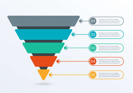 Sales and Marketing Funnel. Business pyramid template with 5 steps. Conversion cone process. Vector illustration. Vector Illustratie