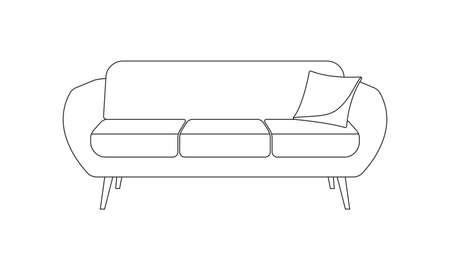 Sofa icon. Couch with pillow line symbol. Vector illustration.
