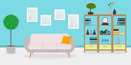 Living room interior with sofa, plant, shelf and pictures on the wall. Apartment, home or house inside with modern furniture. Vector illustration.
