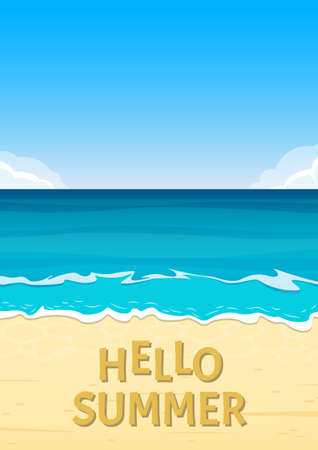 Hello summer banner with sea or ocean and sandy beach. Travel and vacation background template. Vector illustration.