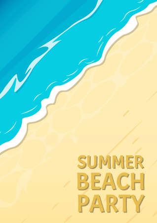 Summer Beach party banner with sea or ocean and sandy beach. Travel and vacation background template. Vector illustration. Ilustracja