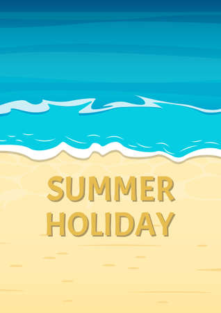 Summer Holiday banner with sea or ocean and sandy beach. Travel and vacation background template. Vector illustration. Ilustracja