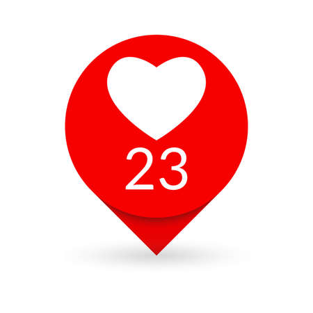 Like Heart icon. Social media button. Like counter notification. Vector illustration.
