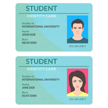 Student id card. University, school, college identity card with photo. Vector illustration. Vector Illustration