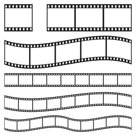 Film strip frame or border set. Photo, cinema or movie negative. Vector illustration. Vektoros illusztráció