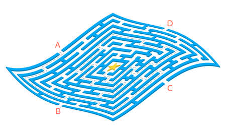 Labyrinth game. Square 3D Maze. Find the way game. Exit and entrance puzzle. Vector illustration. Vectores