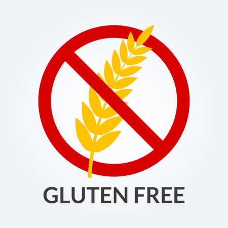 Gluten free icon. Symbol with grain or wheat. Vector illustration.