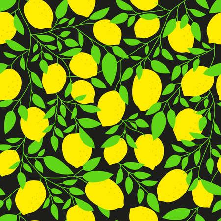 Lemon tree seamless pattern. Citrus background with lemons, leaves and branches. Tropical and summer print, texture, typography design. Vector illustration.