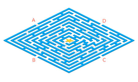 Labyrinth game. Square 3D Maze. Find the way game. Exit and entrance puzzle. Vector illustration. 矢量图像