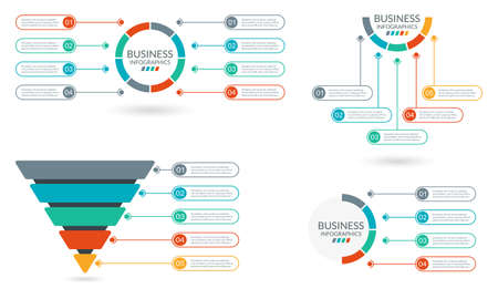 Infographic set. Sale and Marketing Funnel. Sequence info graphic layout. Business pyramid, process presentation concept. Circle diagram, chart, graph with steps, option or parts. Vector illustration. Ilustracje wektorowe