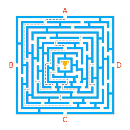 Labyrinth game. Square Maze. Find the way game. Exit and entrance puzzle. Vector illustration.