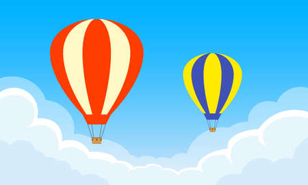 Hot Air Balloons flying in the sky with clouds. Vector illustration.