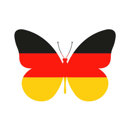 Germany flag icon in the shape of a Butterfly. German national symbol. Vector illustration.
