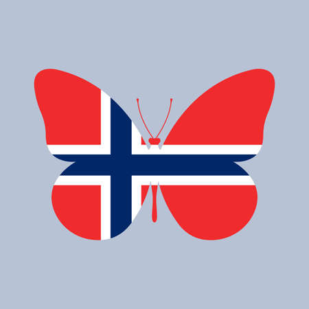 Norway flag icon in the shape of a Butterfly. Norwegian national symbol. Vector illustration.
