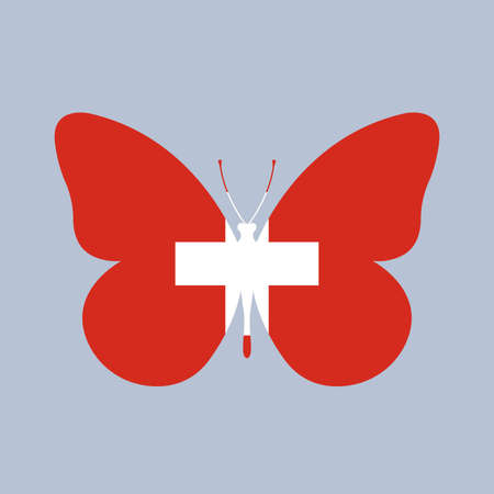 Switzerland flag icon in the shape of a Butterfly. Swiss national symbol with a cross. Vector illustration. Vectores