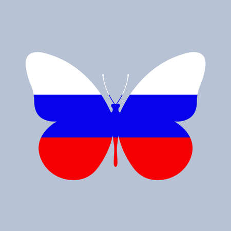 Russia flag icon in the shape of a Butterfly. Russian national symbol. Vector illustration. Vectores