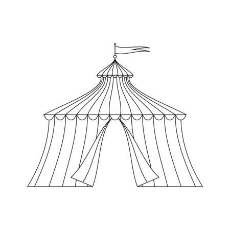 Circus tent with flag. Carnival and funfair marquee outline silhouette. Vector illustration. Vectores