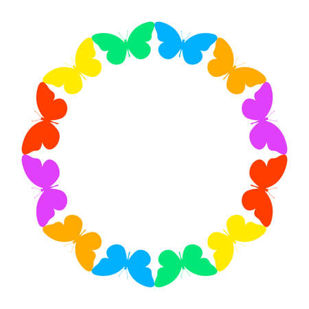 Butterfly circle frame. Colorful butterflies border. Vector illustration.