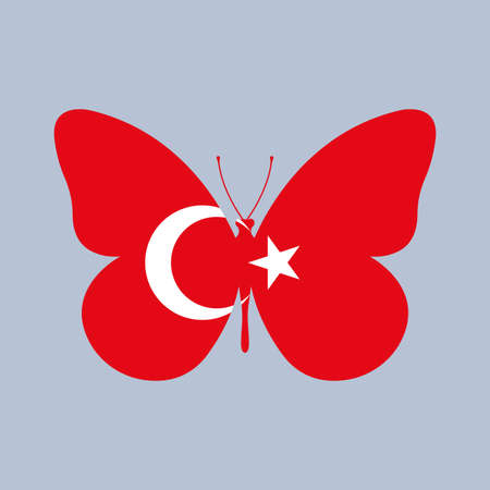 Turkey flag icon in the shape of a Butterfly. Turkish national symbol. Vector illustration.