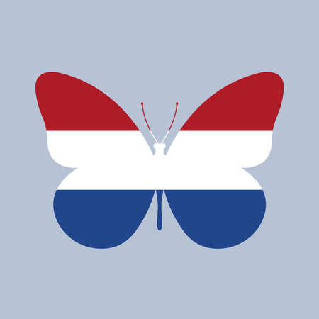 The Netherlands flag icon in the shape of a Butterfly. Dutch and Holland national symbol. Vector illustration.