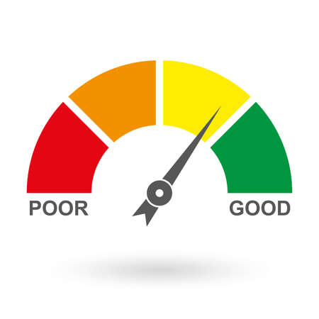 Credit Score Gauge. Bad and Good meter. Credit rating report. Vector illustration. Vectores