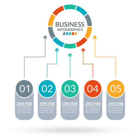 5 steps business process with circle diagram. Graphic chart with 5 elements, options or levels for flowchart, presentation, layout, timeline infograph, progress chart, workflow. Vector illustration.