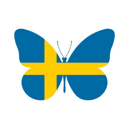Sweden flag icon in the shape of a Butterfly. Swedish national symbol. Vector illustration.