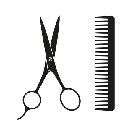 Scissor and comb icon for haircut. Hairdresser or Barber salon design element. Vector illustration. Vectores