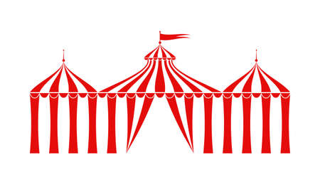 Circus tent icon. Carnival, funfair, festival canopy or marquee. Vector illustration.