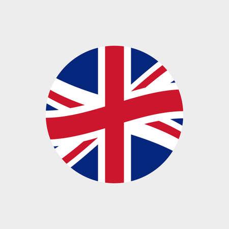 UK or British circle flag icon. Waving United Kingdom and England symbol. Vector illustration. 向量圖像