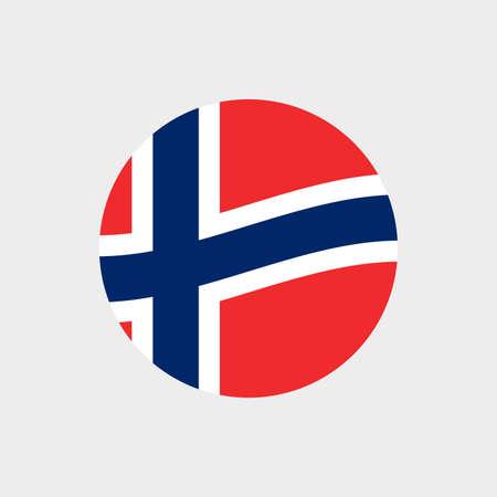 Norway circle flag icon. Waving Norwegian symbol. Vector illustration. 向量圖像