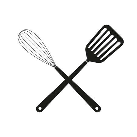 Crossed Spatula with Whisk. Kitchen tools and Cooking utensils icon. Vector illustration.