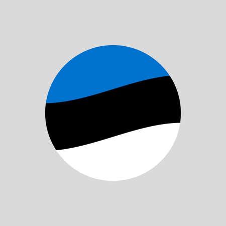 Estonia circle flag icon. Waving Estonian badge. Vector illustration.