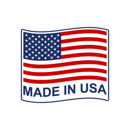 Made in USA badge or logo with waving American flag. Vector illustration.