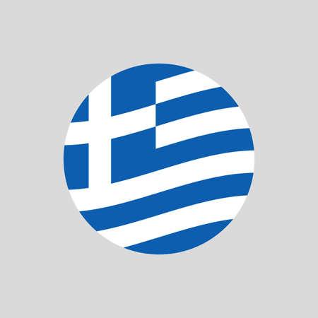 Greece circle flag icon. Waving Greek badge. Vector illustration.