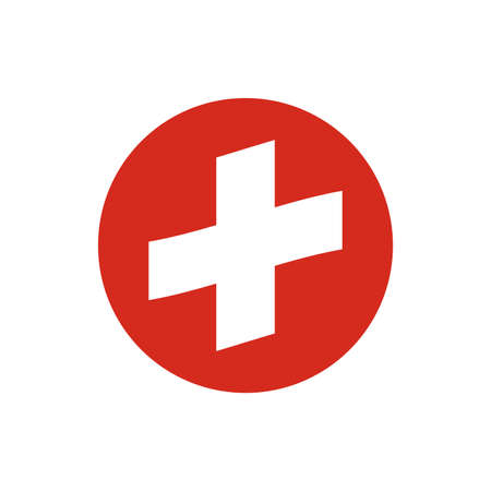 Switzerland circle flag icon. Waving Swiss symbol. Vector illustration. 向量圖像