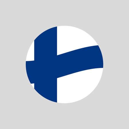 Finland circle flag icon. Waving Finnish badge. Vector illustration. 向量圖像