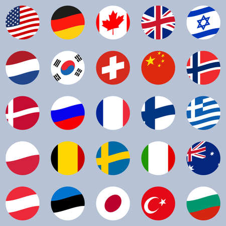 Flag icon set. Round or circle waving Flags of different countries of the World. Vector illustrations. Ilustração