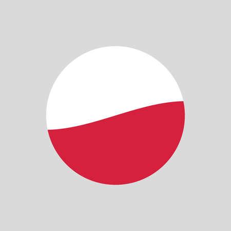 Poland circle flag icon. Waving Polish badge. Vector illustration. 向量圖像