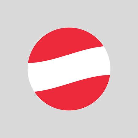 Austria circle flag icon. Waving Austrian badge. Vector illustration.