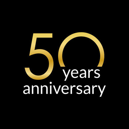 50 years anniversary celebrating icon or logo with gold numbers. Birthday, greeting card design template. Vector illustration.