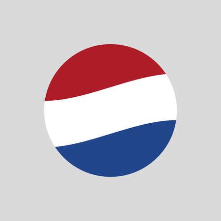 The Netherlands or Holland circle flag icon. Waving Dutch symbol. Vector illustration.
