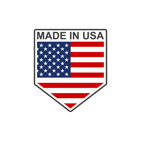 Made in USA badge or logo in the shape of a shield with American flag. Vector illustration.