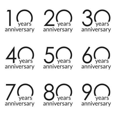Anniversary logo set. 10,20,30,40,50,60,70,80,90 years celebrating. Birthday design template. Vector illustration. Illustration