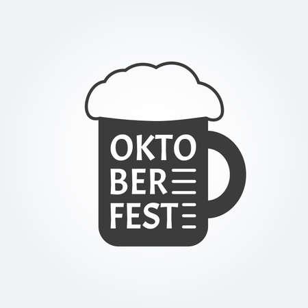 Beer mug icon. Pint of beer with foam. Oktoberfest logo. Vector illustration.